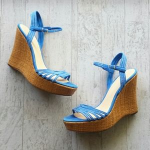 J. Crew Blue Bette Platform Wedges Size 10